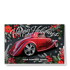 Double Personalized Full Color Holiday Card- Floral Flame