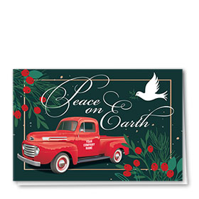 Double Personalized Full Color Holiday Card- Peaceful Dove