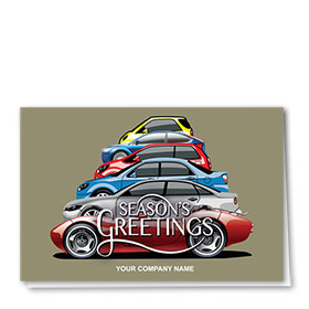 Double Personalized Full Color Holiday Card- Tree Lineup