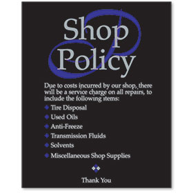 Acrylic Office Sign - Shop Policy