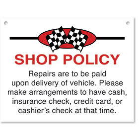 Sign ABS Plastic Checkered Flag - Shop Policy