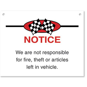 Sign ABS Plastic Checkered Flag - Notice