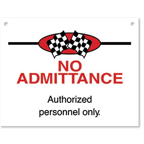 Sign ABS Plastic Checkered Flag - No Admittance