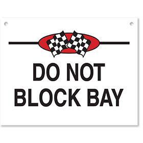 Sign ABS Plastic Checkered Flag - Do Not Block Bay