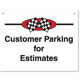 Sign ABS Plastic Checkered Flag - Customer Parking
