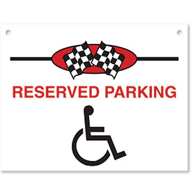 Sign ABS Plastic Checkered Flag - Reserved Parking