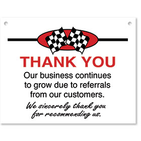 Sign ABS Plastic Checkered Flag - Thank You