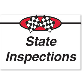 Sign ABS Plastic Two-Sided Curb -State Inspections