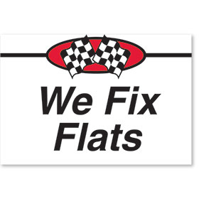 Sign ABS Plastic Two-Sided Curb -We Fix Flats
