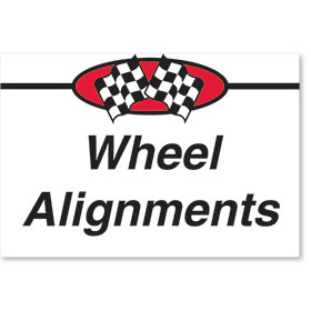 Sign ABS Plastic Two-Sided Curb -Wheel Alignments