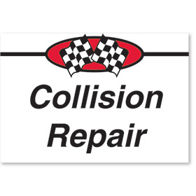Sign ABS Plastic Two-Sided Curb -Collision Repair