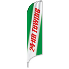 Auto Shop Tail Feather Flags - 24 Hour Towing