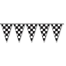 Triangular Pennant Strings - Checkered Flag