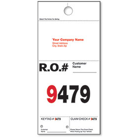 Personalized Auto Hang Tags with Imprint & Numbers