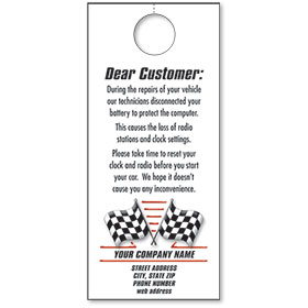 Automotive Thank You Hang Tags - Checkered Flags