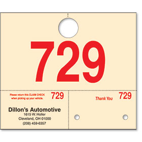 Personalized Manila Car Hang Tags with Imprint & Numbers