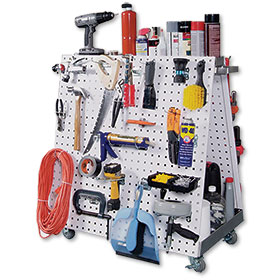 Mobile Tool Cart - Steel Pegboard