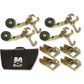 "B/A Tie-Down Kit With 8"" Cluster Straps, Snap Hook Ratchets, and Bag"
