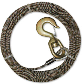 "B/A 75' Fiber Core Wire Winch Line Assembly  3/8"" Diameter"