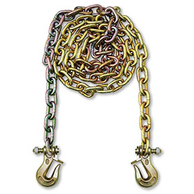 "B/A G70 3/8"" Chain With Twist Lock, 10'  WLL 6600 lbs. - 2 Hooks"