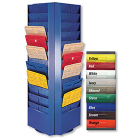 Colored 3-Sided Rotating Repair Order Rack - 54 Pockets