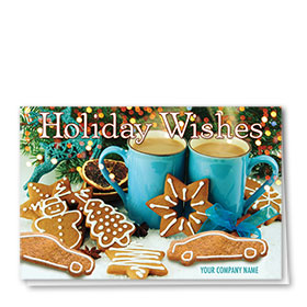 Double Personalized Full-Color Auto Holiday Cards - Gingerbread Wishes