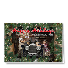 Double Personalized Full Color Holiday Card- Nostalgic Clubhouse