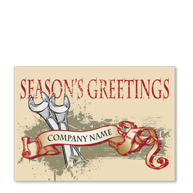 Double Personalized Full Color Holiday Postcard - Season's Greeting