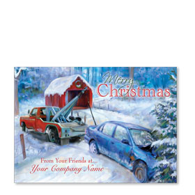 Double Personalized Full Color Holiday Postcard - Christmas Rescue