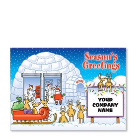 Double Personalized Full Color Holiday Postcard - Snowman Repair