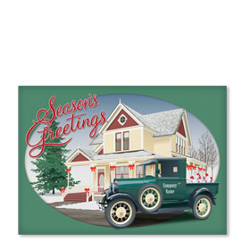 Double Personalized Full Color Holiday Postcard - Homestead Holiday