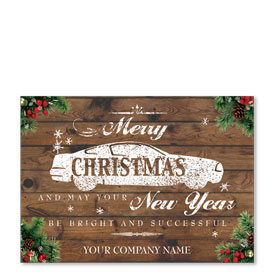 Double Personalized Full-Color Holiday Postcards - Weathered Wishes