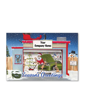 Double Personalized Full Color Holiday Postcard - Beware of Snowman
