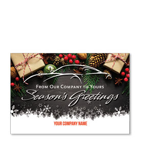 Double Personalized Full Color Holiday Postcard - Darkened Wood