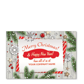 Double Personalized Full Color Holiday Postcard - Christmas Note