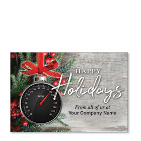 Double Personalized Full Color Holiday Postcard - Holiday Speedometer