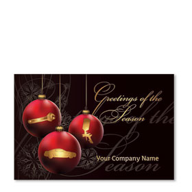 Double Personalized Full Color Holiday Postcard - Crimson Ornaments