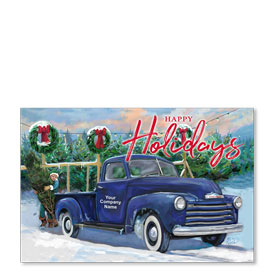 Double Personalized Full Color Holiday Postcard - Tree Farm