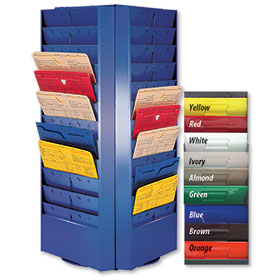 Colored 4-Sided Rotating Repair Order Racks - 48 Pockets