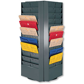 Gray 4-Sided Rotating Repair Order Rack with 48 Pockets