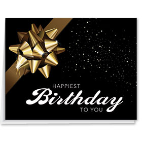 Birthday Cards - Black with Gold Bow