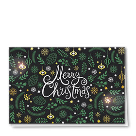 Premium Foil Traditional Christmas Cards - Green Branches
