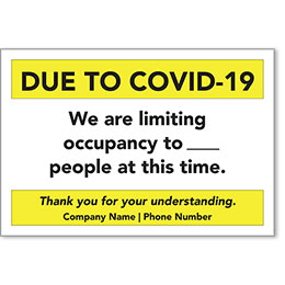 """COVID-19 Limited Occupancy Personalized Poster 13"""" x 19"""""""