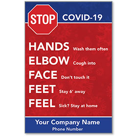 """STOP COVID-19 5-Step Personalized Poster 13"""" x 19"""""""
