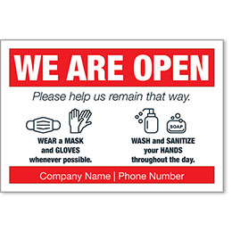 """We Are Open COVID-19 Safety Personalized Poster 13"""" x 19"""""""