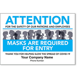 """Masks Required for Entry Personalized Poster 13"""" x 19"""""""