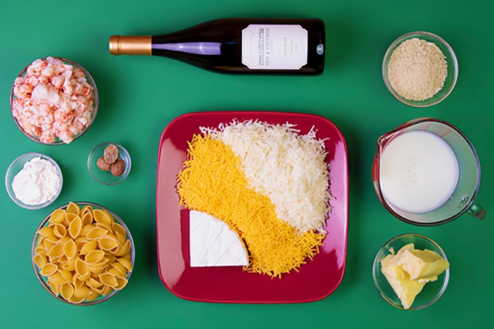 ingredients for cooking, cheese, wine, pasta, spices