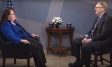 Host David Bailey talking with Rachel Bitecofer, Ph.D.