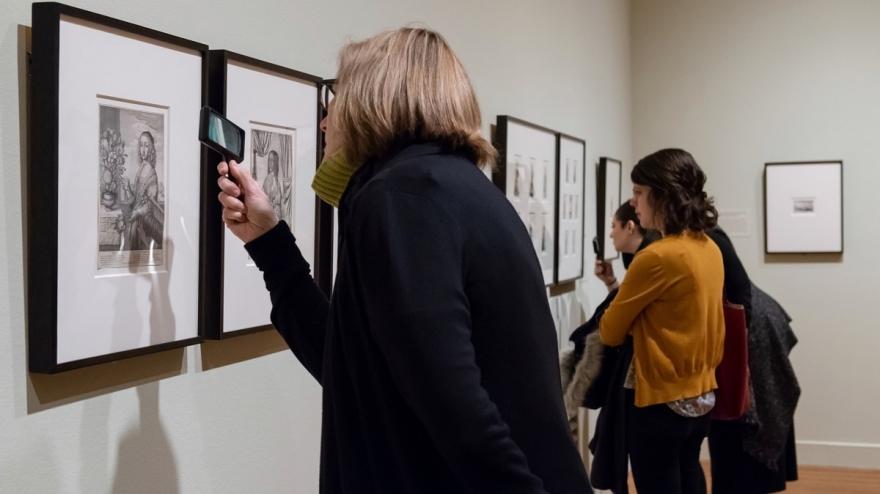 """Visitors Viewing """"Hollars Encyclopedic Eye"""" © Virginia Museum of Fine Arts."""