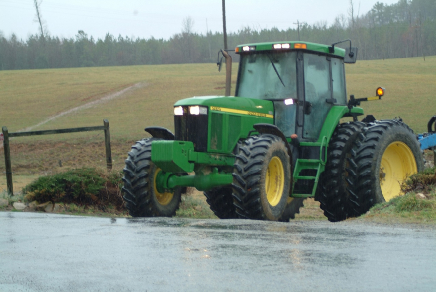 Farm Bureau tractor in the rain.